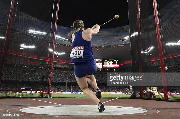 Britain's Sophie Hitchon competes in the final of the women's hammer throw athletics event at the 2015 IAAF World Championships at the 'Bird's Nest'...