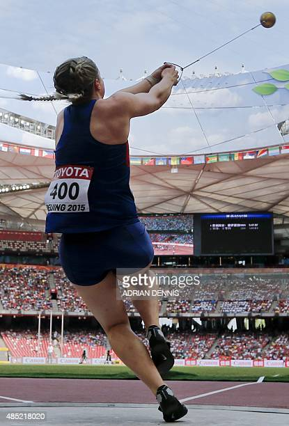 Britain's Sophie Hitchon competes in the qualifying round of the women's hammer throw athletics event at the 2015 IAAF World Championships at the...