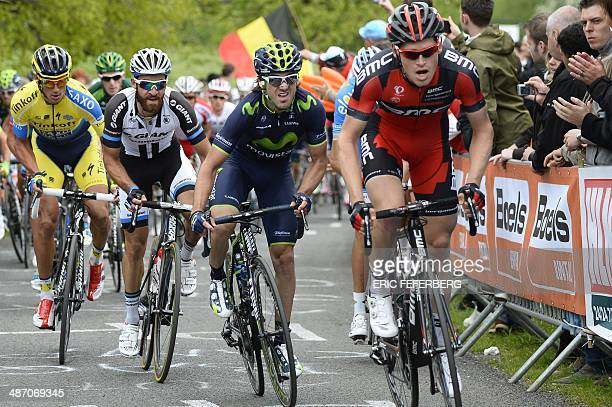 Britain's Stephen Cummings and Spain's Jose Ivan Gutierrez leads the pack during the 100th edition of the LiegeBastogneLiege oneday classic cycling...