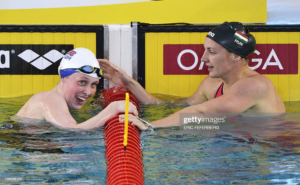 Britain's swimmer Hannah Miley (L) is congratulated by Hungarian swimmer Katinka Hosszu after her victory in the women's short course 400m medley event at the European Swimming Championships on November 25, 2012, in Chartres. Sinkevich won the competition.