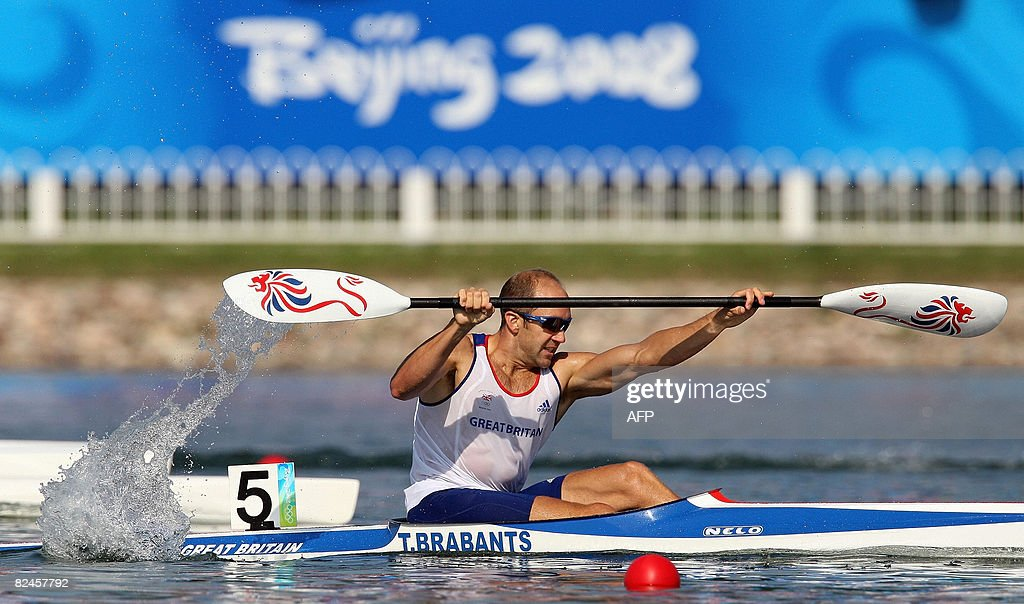 Britain's Tim Brabants competes in the 2008 Beijing Olympic Games Men's Kayak K1 500m flatwater event at the Shunyi Rowing and Canoeing Park in Beijing on August 19, 2008. AFP PHOTO / Manan VATSYAYANA