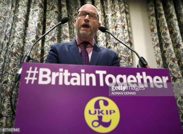 Britain's UKIP leader Paul Nuttall speaks to journalists ahead of a policy announcement by UKIP media spokesman and MEP Patrick O'Flynn during a UKIP...