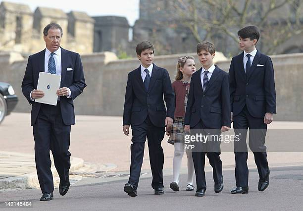 Britain's Viscount Linley with his children Margarita ArmstrongJones Charles Patrick Inigo ArmstrongJones and nephews Samuel Chatto and Arthur Chatto...
