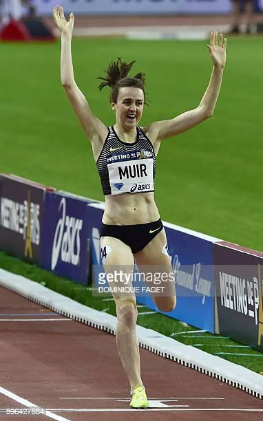Britain's women's 1500m runner Laura Muir competes at the IAAF Diamond League athletics meeting in SaintDenis near Paris on August 27 2016 / AFP /...