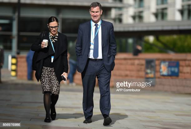 Britain's Work and Pensions Secretary David Gauke arrives to attend day 3 of the Conservative party annual conference in Manchester northwest England...
