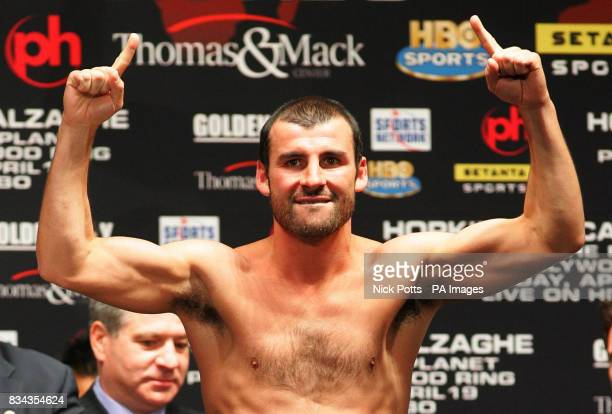 Britain's World Champion boxer Joe Calzaghe at Planet Hollywood looks to the Welsh fans at the weighin at Planet Hollywood hotel before Saturday's...
