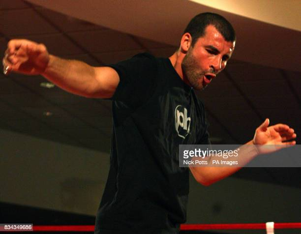 Britain's World Champion boxer Joe Calzaghe in relaxed mood as he dances and shadow boxes during his open workout at the Planet Hollywood Hotel ahead...