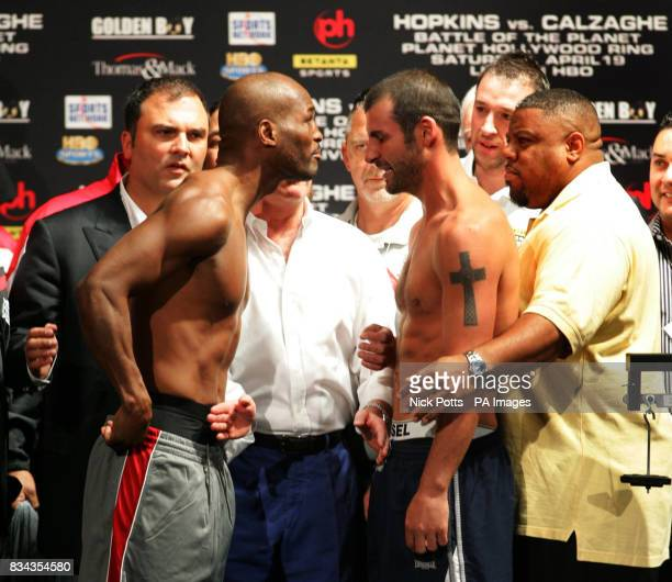 Britain's World Champion boxer Joe Calzaghe looks slightly spooked by American Bernard Hopkins anticis at the weighin at Planet Hollywood hotel...