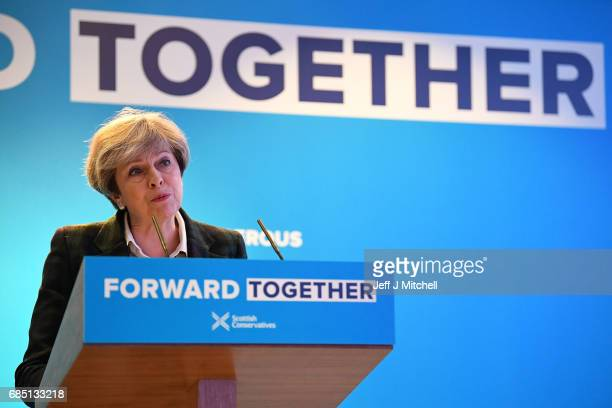 Britains's Prime Minister Theresa May gives a speech at the launch of the Scottish manifesto on May 19 2017 in Edinburgh Scotland The Scottish...
