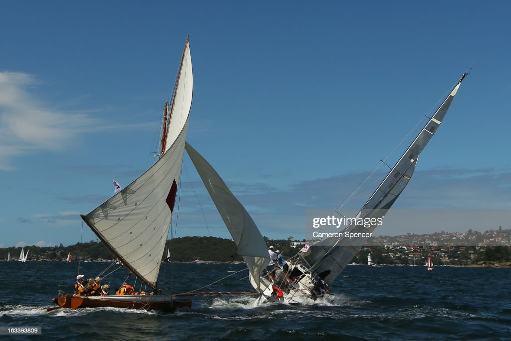 'Britannia' collides with another yacht during the Sydney Regatta on Sydney Harbour, on March 9, 2013 in Sydney, Australia.