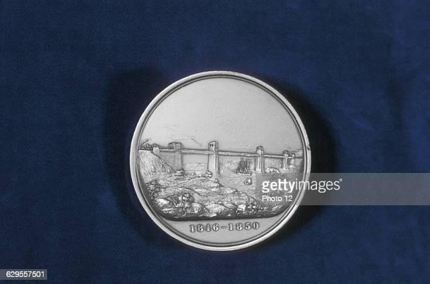 Britannia Tubular Bridge over Menai Straits between Welsh mainland and Angelsea Chester and Holyhead Railway Begun 1846 opened 18 March 1850 Engineer...