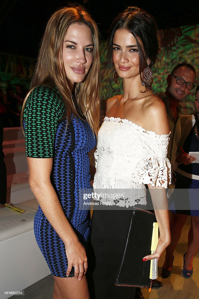 Britanny Rice (L) and Shermine Shahrivar arrive for the Opening Night by Grazia fashion show during the Mercedes-Benz Fashion Week Spring/Summer 2015 at Erika Hess Eisstadion on July 7, 2014 in Berlin, Germany.