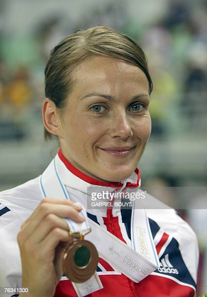 Britian's bronze medalist Kelly Sotherton poses during the women's heptathlon medal ceremony 27 August 2007 at the 11th IAAF World Athletics...