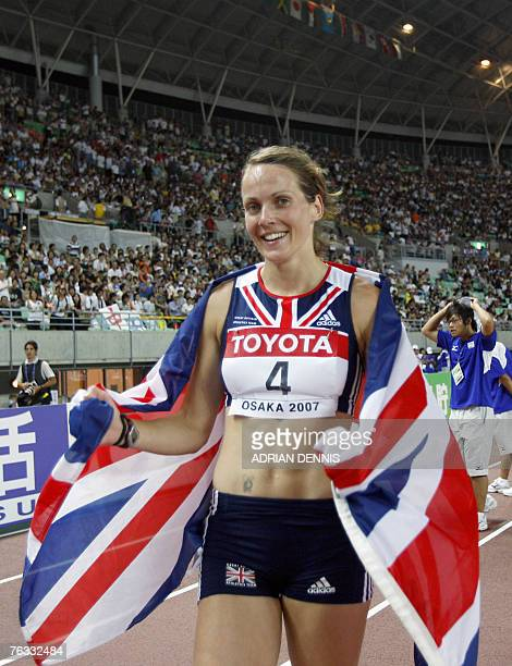Britian's Kelly Sotherton celebrates after the womens heptathlon 800M at the 11th IAAF World Athletics Championships in Osaka 26 August 2007 Sweden's...