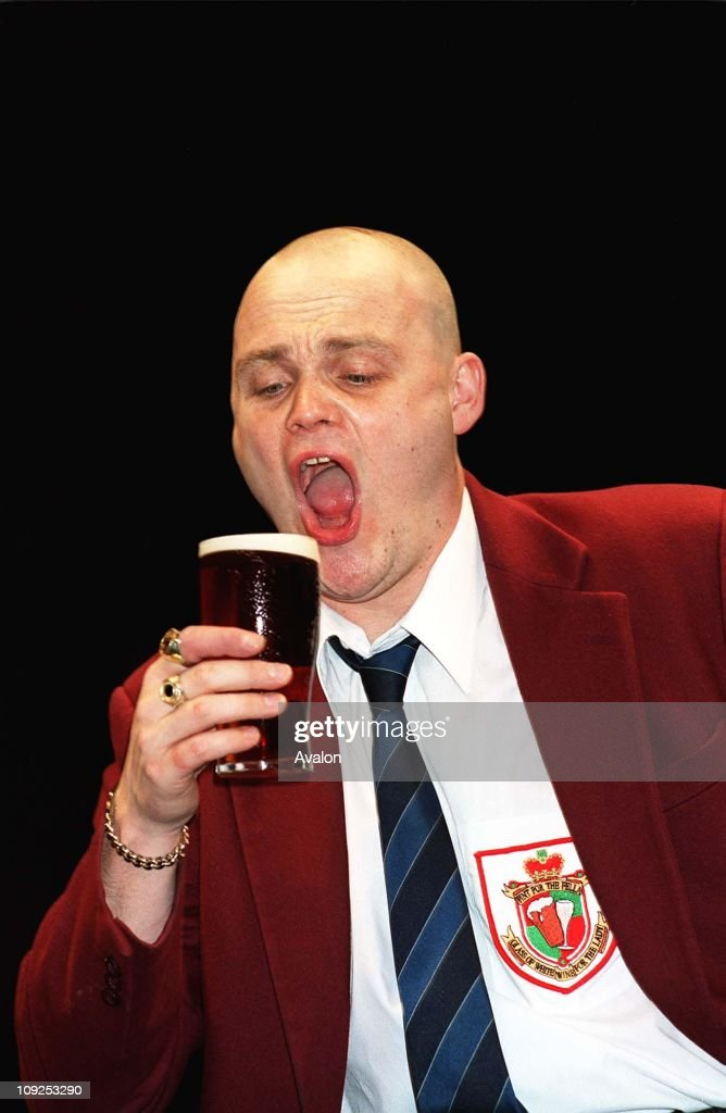 British Actor Al Murray Stars as the Pub Landlord in the play 'And A Glass of White Wine for The Lady' at the Playhouse Theatre in London