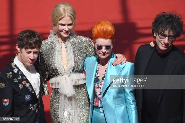 British actor Alex Sharp Australian actress Nicole Kidman British costume designer Sandy Powell and British author Neil Gaiman pose as they arrive on...