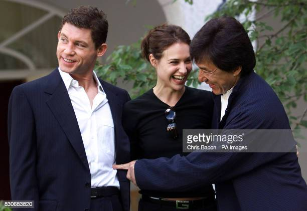 British actor and comedian Lee Evans with actress Claire Forlani and martial arts actor Jackie Chan at a photocall in Dublin to announce the filming...