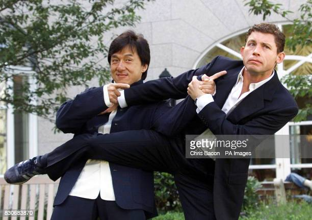 British actor and comedian Lee Evans with martial arts actor Jackie Chan at a photocall in Dublin to announce the filming of the Irish locations of...
