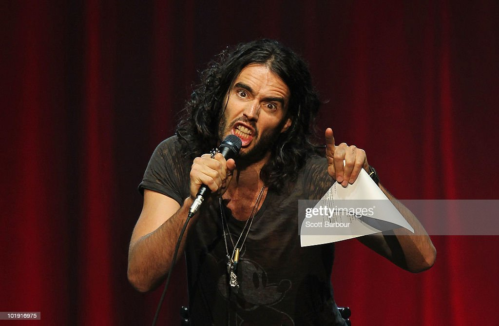 British actor and comedian <a gi-track='captionPersonalityLinkClicked' href=/galleries/search?phrase=Russell+Brand&family=editorial&specificpeople=536593 ng-click='$event.stopPropagation()'>Russell Brand</a> performs on stage during his stand-up tour at Rod Laver Arena on June 9, 2010 in Melbourne, Australia.