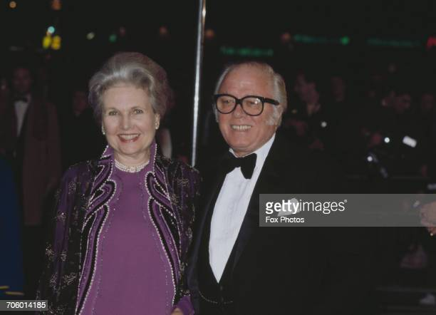 British actor and filmmaker Richard Attenborough and his wife actress Sheila Sim attend the London premiere of the film 'A Chorus Line' directed by...