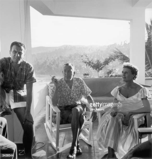 British actor and playwright Noel Coward with Graham Payn and actress Joyce Carey at 'Firefly' his home at Roundhill Jamaica