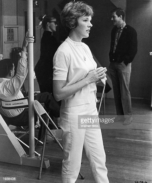 British actor and singer Julie Andrews during rehearsals on the set of 'Mary Poppins' directed by Robert Stevenson 1964