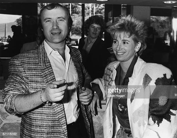 British actor and singer Phil Collins with his second wife Jill Tavelman at the Montreux Golden Rose rock festival 13th May 1986