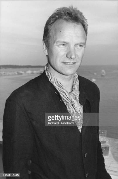 British actor and singer Sting promotes his film 'The Grotesque' at the Cannes Film Festival May 1995
