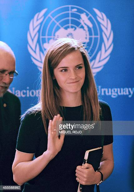 British Actor and UN Women Goodwill Ambassador Emma Watson arrives to the presentation of the UN Womens HeForShe campaign to Non Governmental...