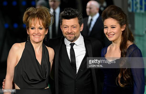 British actor Andy Serkis poses with his wife Lorraine Ashbourne and their daughter Ruby as they arrive at the European premiere of the first in the...
