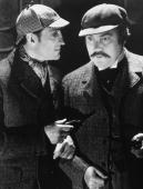 British actor Basil Rathbone as fictional detective Sherlock Holmes with Nigel Bruce as Doctor Watson circa 1939