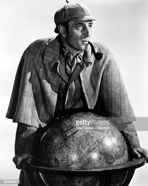 British actor Basil Rathbone as Sherlock Holmes in a promotional portrait for 'The Adventures of Sherlock Holmes' directed by Alfred L Werker 1939