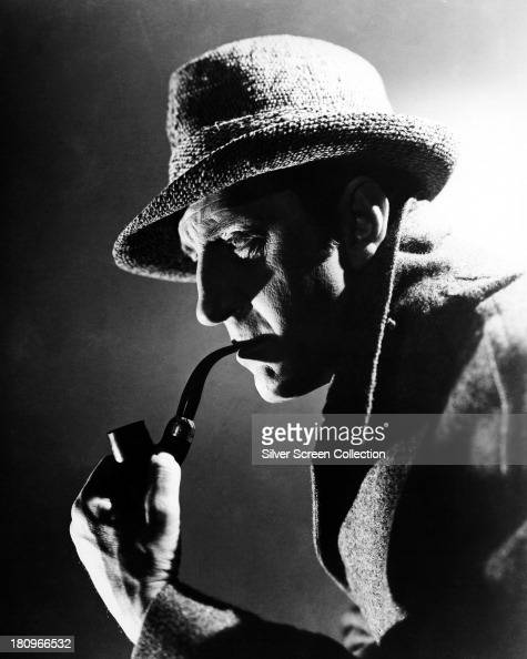 British actor Basil Rathbone as Sherlock Holmes in a promotional portrait circa 1944 The image was used in posters for 'The Pearl Of Death' and...