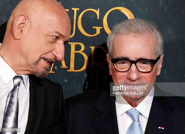 British actor Ben Kingsley and US film director Martin Scorsese pose prior to the French Premiere screening of the movie 'Hugo' directed by Scorsese...
