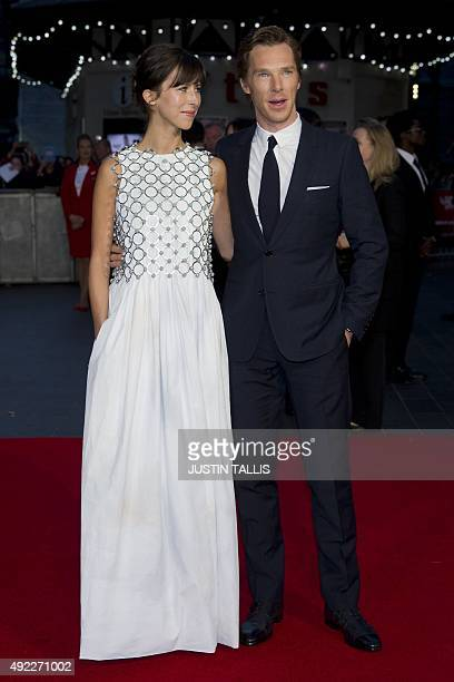 British actor Benedict Cumberbatch and his wife Sophie Hunter pose for photographers on the red carpet for the premiere of Black Mass during the BFI...