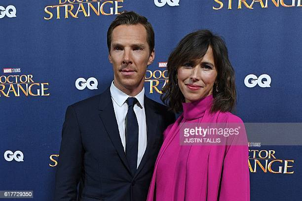 British actor Benedict Cumberbatch and his wife Sophie Hunter pose for photographers upon arrival at a launch event for the film 'Doctor Strange' at...