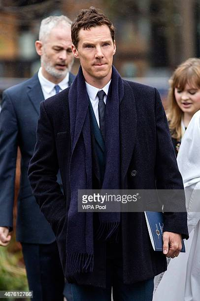 British actor Benedict Cumberbatch arrives at Leicester Cathedral for the reinterment ceremony of King Richard III on March 26 2015 in Leicester...
