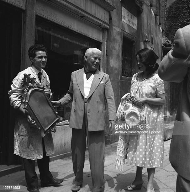 British actor Charlie Chaplin with Oona O'Neill Venice 1959