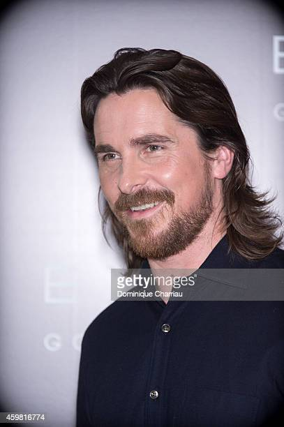 British actor Christian Bale poses during a photocall for the film 'Exodus Gods and Kings' at Hotel Bristol on December 2 2014 in Paris France