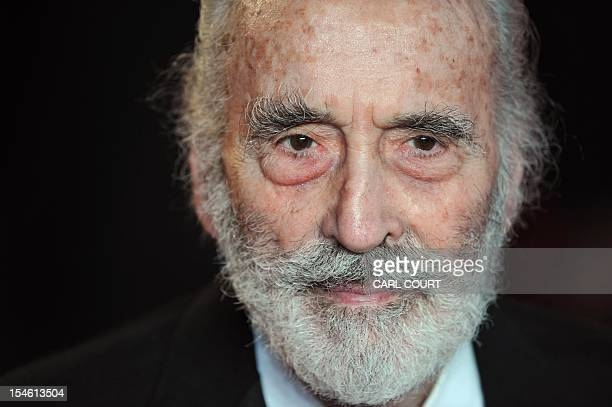 British actor Christopher Lee arrives on the red carpet to attend the royal world premiere of the new James Bond film 'Skyfall' at the Royal Albert...
