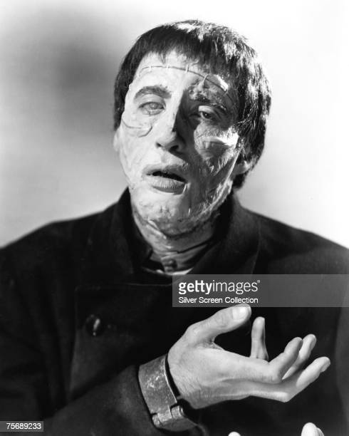 British actor Christopher Lee stars as the resurrected creature in 'The Curse of Frankenstein' 1957