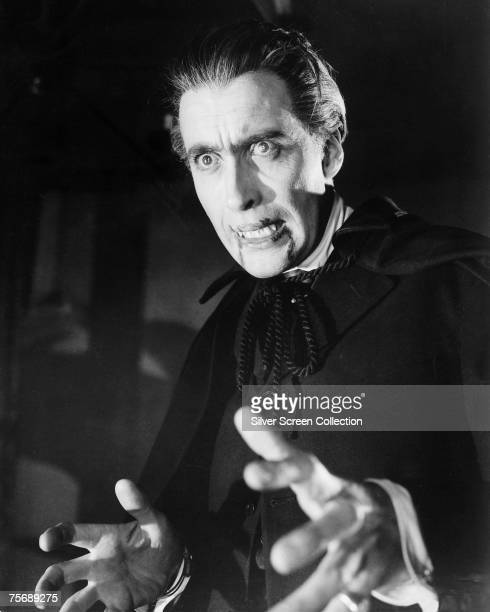 British actor Christopher Lee stars as vampiric Count in the Hammer classic 'Dracula' aka 'The Horror of Dracula' 1958