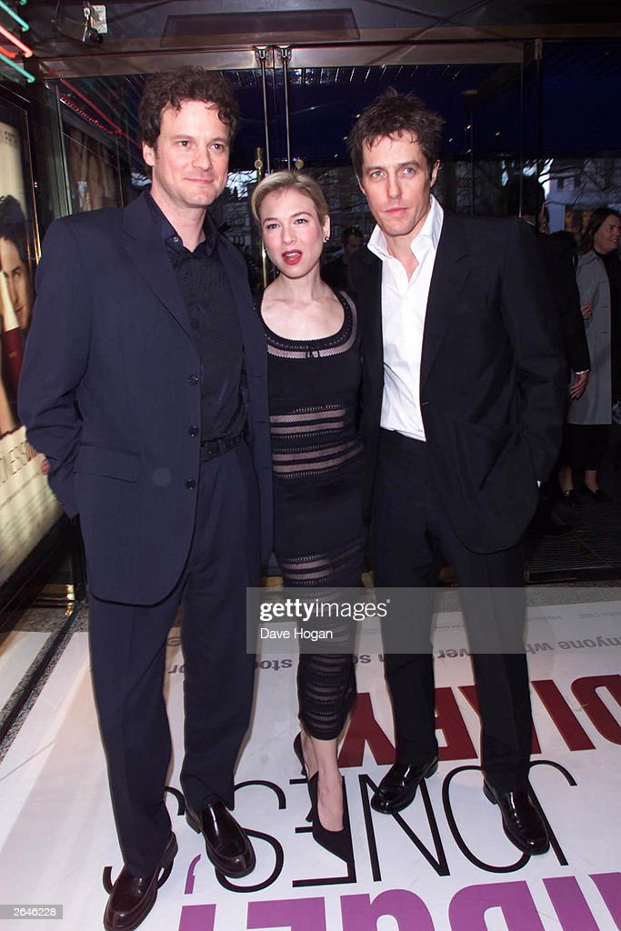 British actor Colin Firth, American actress Renee Zellweger and British actor Hugh Grant arrive at the premiere of the film 'Bridget Jones' Diary' at Empire cinema Leicester Square on March 10, 2001 in London.