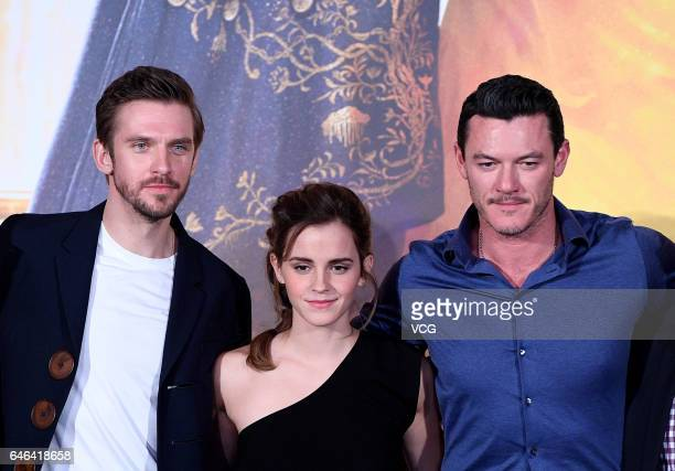 British actor Dan Stevens British actress Emma Watson Welsh actor and singer Luke Evans attend the press conference of American director Bill...