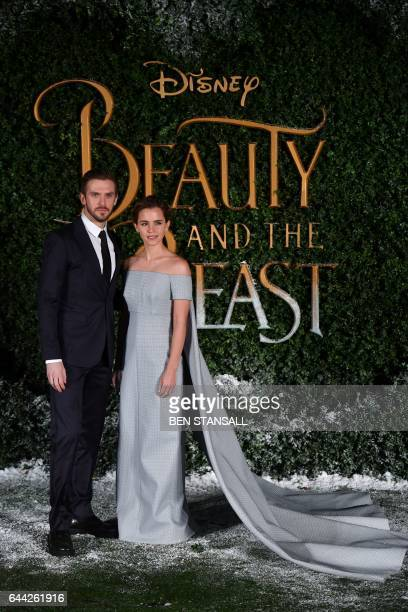 British actor Dan Stevens Dan Stevens and British actress Emma Watson pose upon arrival at the UK launch of the film 'Beauty and the Beast' in London...