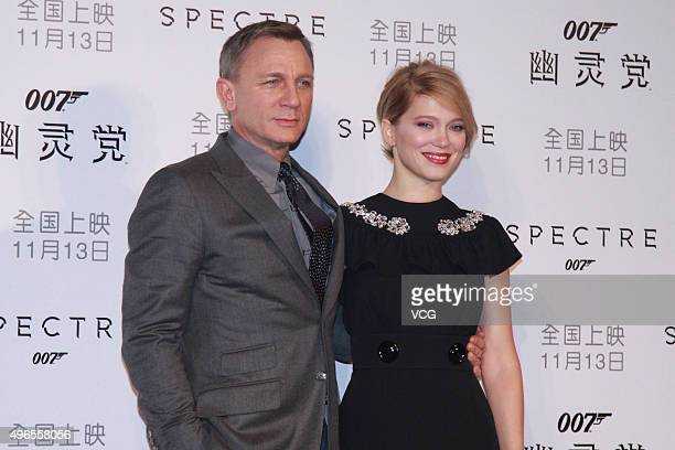 British actor Daniel Craig and French model and actress Lea Seydoux promote new film 'Spectre' directed by British actor and director Sam Mendes on...