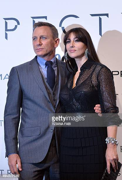 British actor Daniel Craig and Italian actress Monica Belluci attend the Premiere of the new James Bond film 'Spectre' on October 27 2015 in Rome AFP...