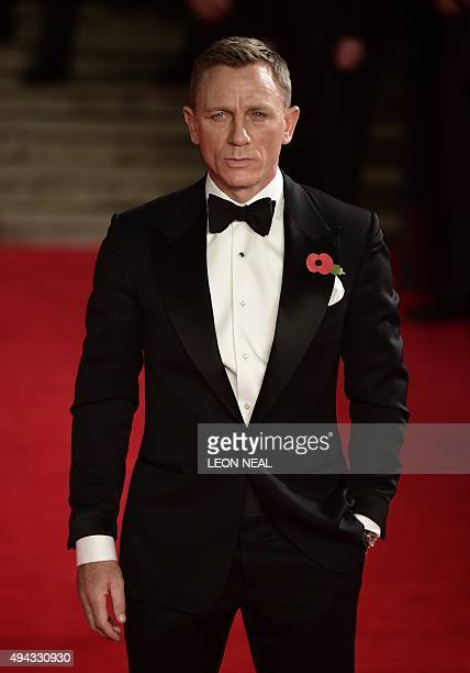 British actor Daniel Craig arrives for the world premiere of the new James Bond film 'Spectre' at the Royal Albert Hall in London on October 26 2015...