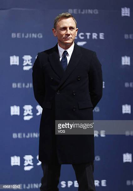 British actor Daniel Craig attends premiere of new film 'Spectre' directed by British actor and director Sam Mendes on November 12 2015 in Beijing...