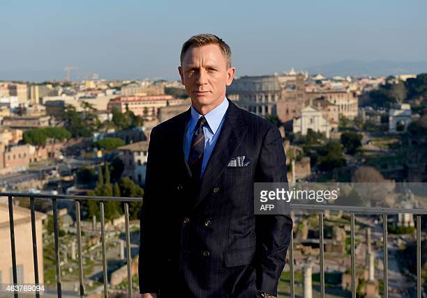 British actor Daniel Craig poses during a photocall to promote the 24th James Bond film 'Spectre' on February 18 2015 at Rome's city hall AFP PHOTO /...